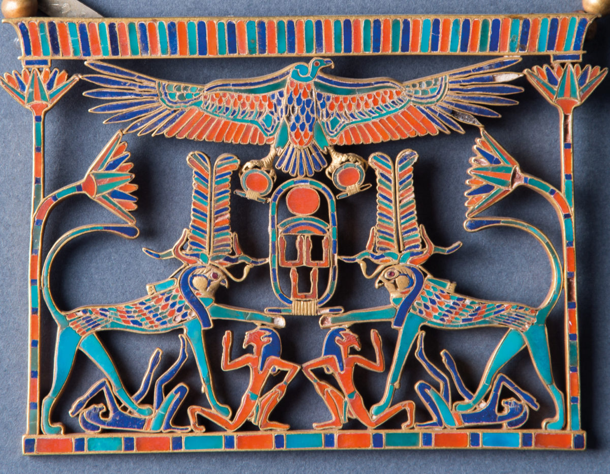 The Princess Mereret (Mereret B) was a daughter of Khakaure Senwosret III, this pectoral comes from her tomb in the lower galleries of the pyramid complex of her father at Dahshur.