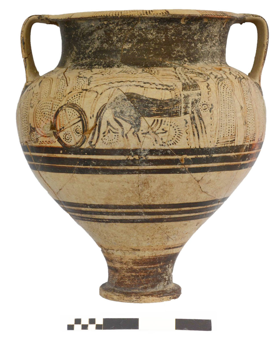 Dromoloaxia-Vyzakia: Chariot krater from Tomb RR (Photo: Cyprus Department of Antiquities)