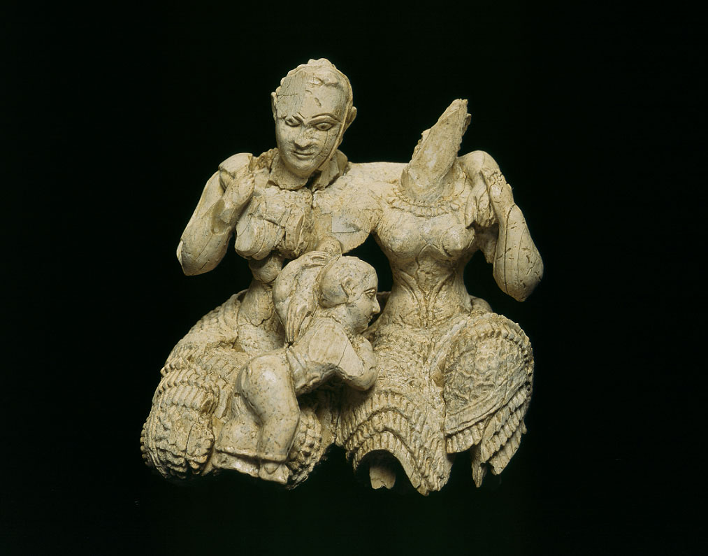 "Group of figures known as the ""Ivory Triad"", Acropolis of Mycenae, 15th -14th c B.C. © National Archaeological Museum/Fund of Archaeological Proceeds"