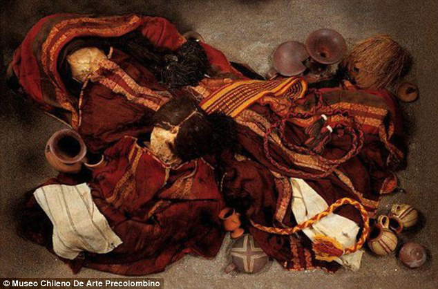 Cerro Esmeralda burial: This is reportedly the first time the substance has been associated with a burial from the region. Pictured are grave goods uncovered