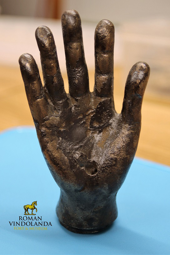 The hand is now on public display in the same gallery as the altars dedicated to Jupiter Dolichenus at the Vindolanda museum.