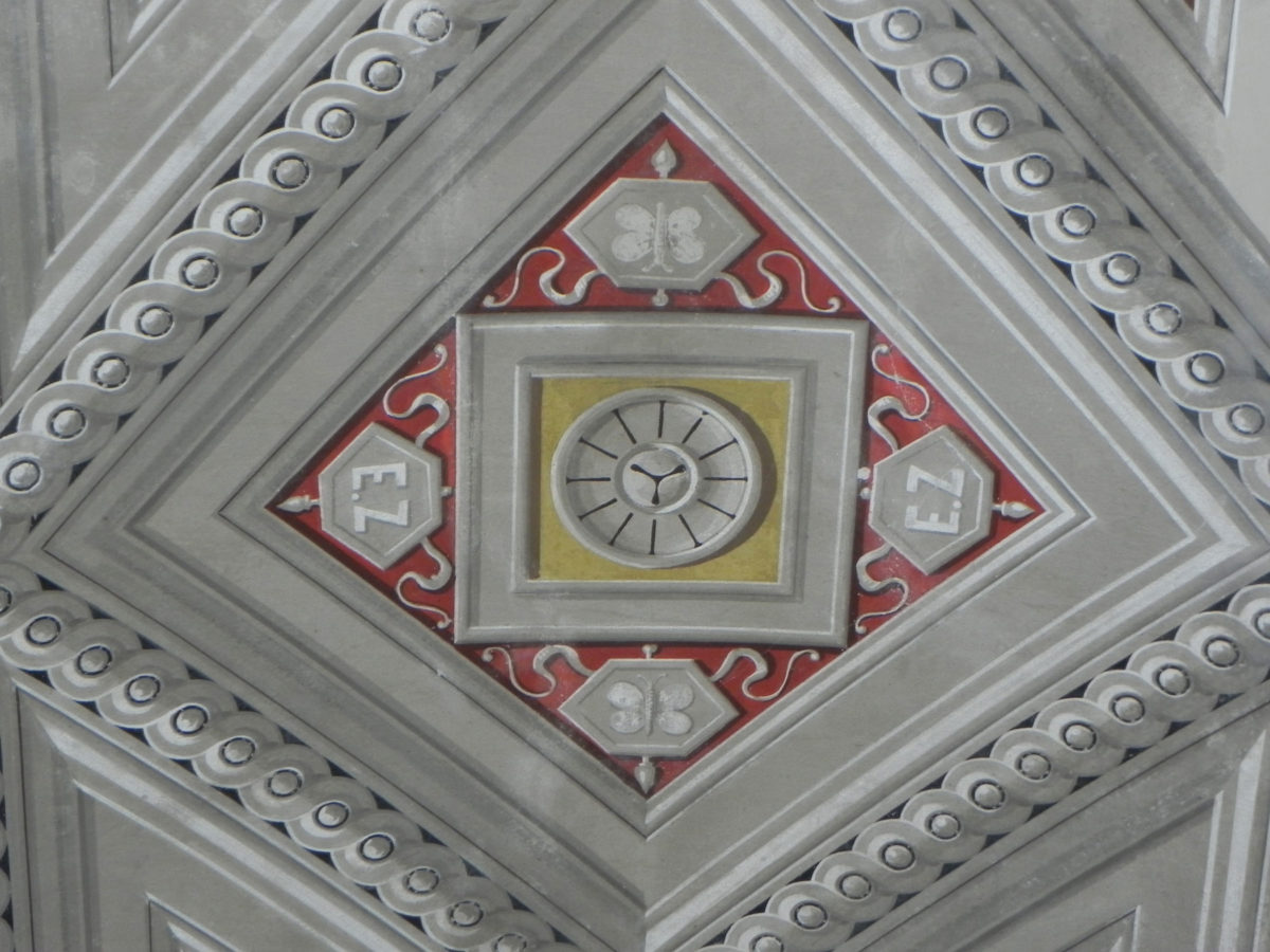 Ziller's monogramme from the ceiling of his bedroom revealed after conservation work (source: Directorate of Protection and Restoration of Modern and Contemporary Monuments/Ministry for Culture)