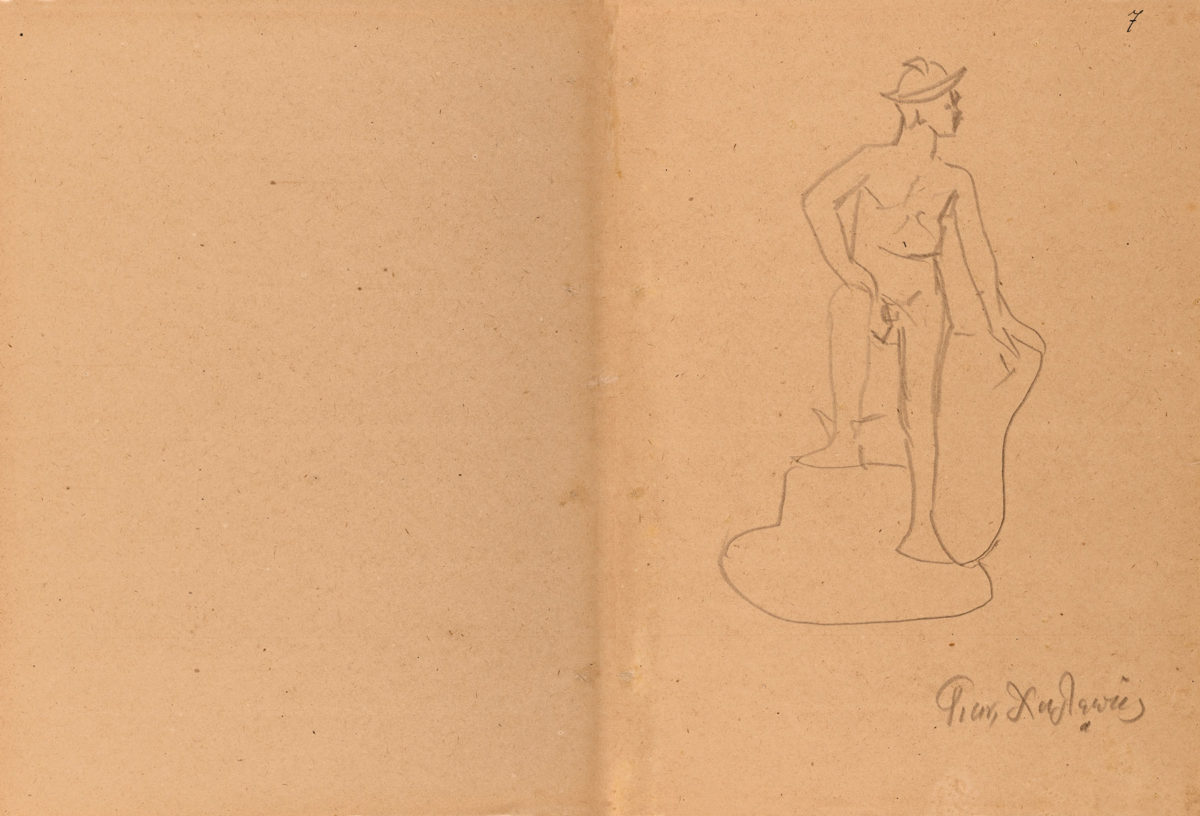 Seated Hermes. Unpublished drawing (pencil on paper) by Gianoulis Chalepas (belongs to private collector Nikolaos Doukas) .