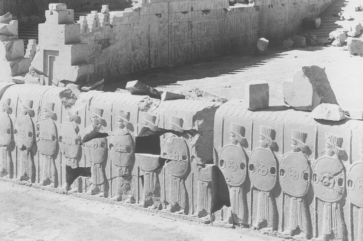 Photograph of an excavation of the ruins of Persepolis in Iran taken in 1933. The bas-relief of a soldier from these ruins was ordered to be returned to Iran on Monday.