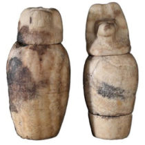 Set of canopic jars found in the tomb of Karabasken