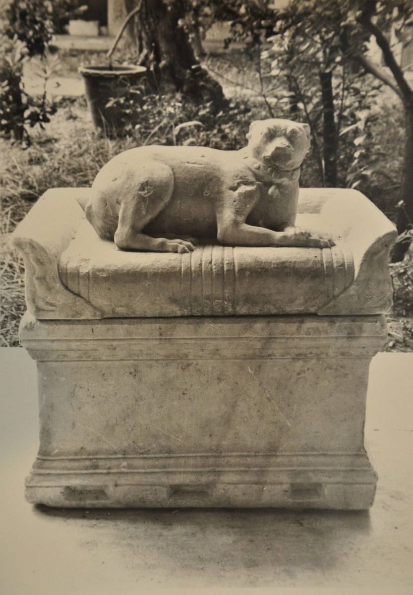 The couchant little dog. Found in the National Garden (Athens) Dated to mid 3rd cent. A.D. Inv. no. Γ 3783. NAM Photographic Archive. © TAΠΑ/Εθνικό Αρχαιολογικό Μουσείο.