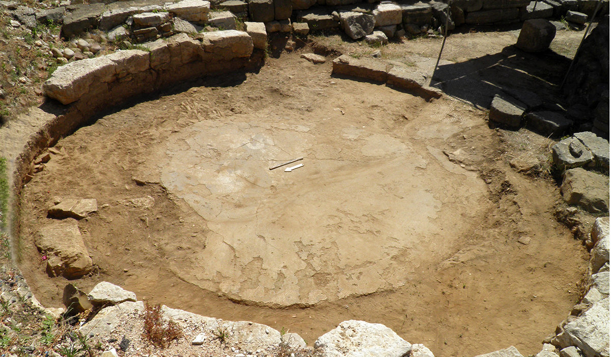 The pebble floor was discovered during excavations by the Ephorate of Antiquities of Arta. Credit: Ephorate of Antiquities of Arta.