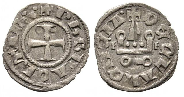 The tornese silver coins from the Principality of Achaea found in Bulgaria's Rusocastro Fortress depict a cross and a tower of a Catholic cathedral. Photo: Burgas Regional Museum of History
