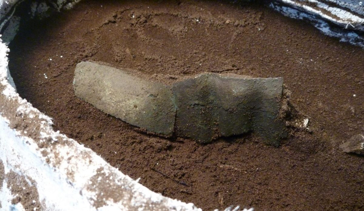 This is a copper band revealed during excavations. Credit: Matthew Sanger