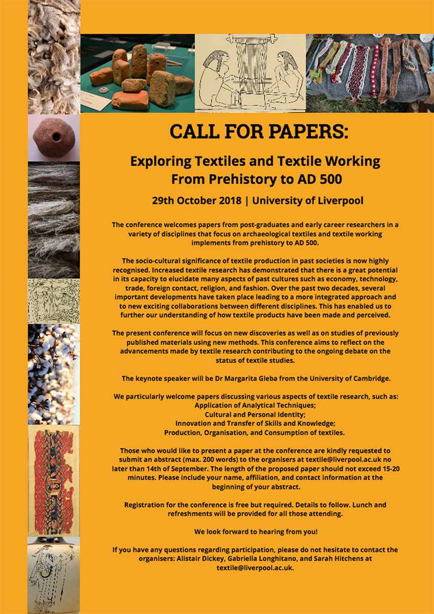 Conference on archaeological textiles and textile working implements throughout the world, from prehistory to AD 500.