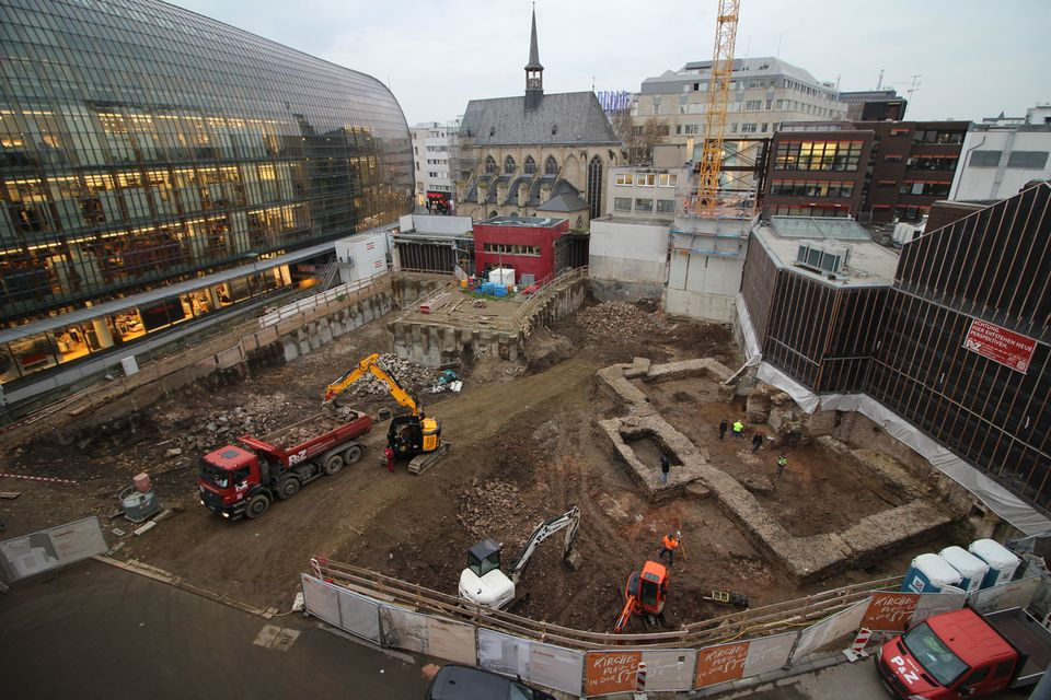The foundations of a Roman building that is probably the oldest library in Germany have been uncovered in central Cologne © Römisch-Germanisches Museum der Stadt Köln
