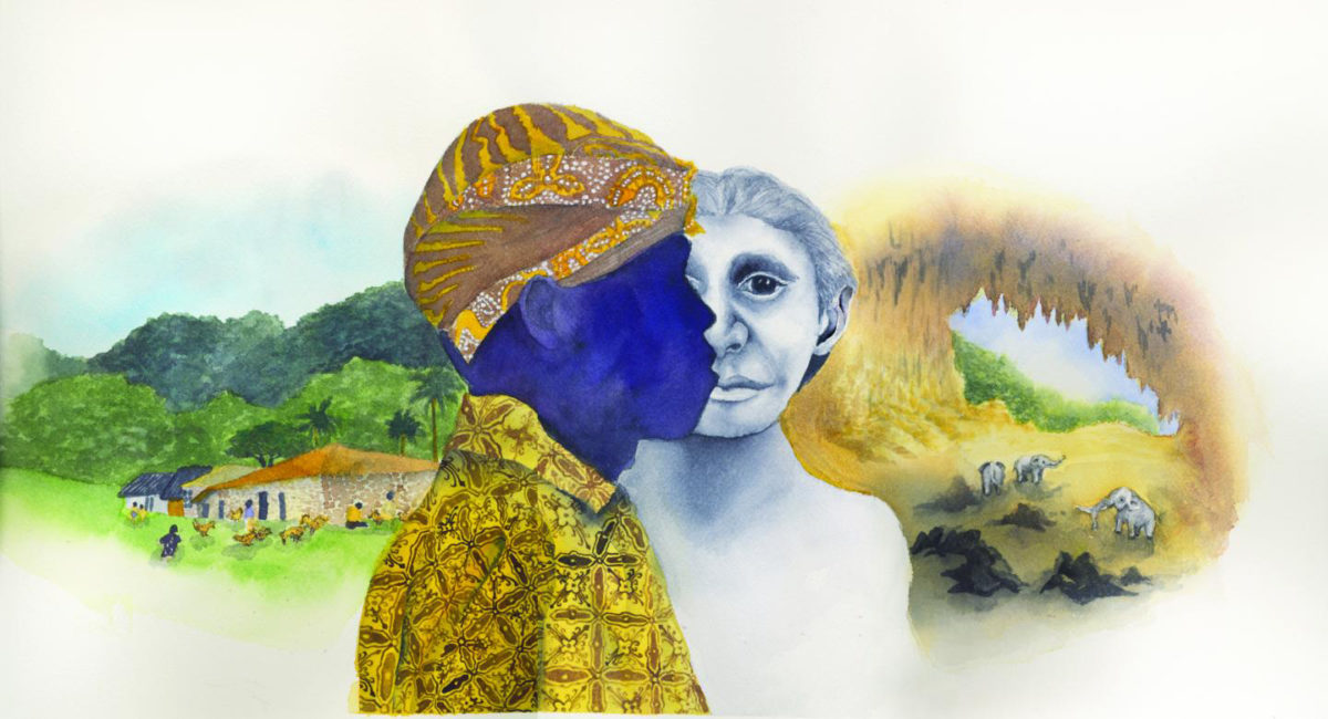 Modern pygmy village, Rampasasa, a Rampasasa pygmy with the traditional head covering and clothing, the face of a Homo floresiensis reconstruction, pygmy elephants in the Liang Bua cave where the H. floresiensis fossils were discovered in 2004. Credit: Illustration by Matilda Luk, Princeton University