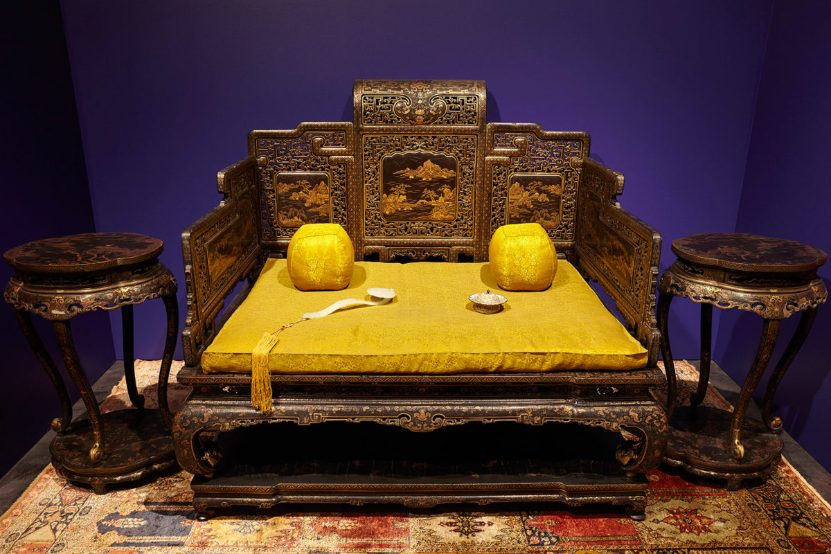 Throne and censer tables from the study room of Qianlong in  the Palace of Many Splendors  Qing Dynasty, Qianlong Reign (1735-1796). Photographed by Giorgos Vitsaropoulos.