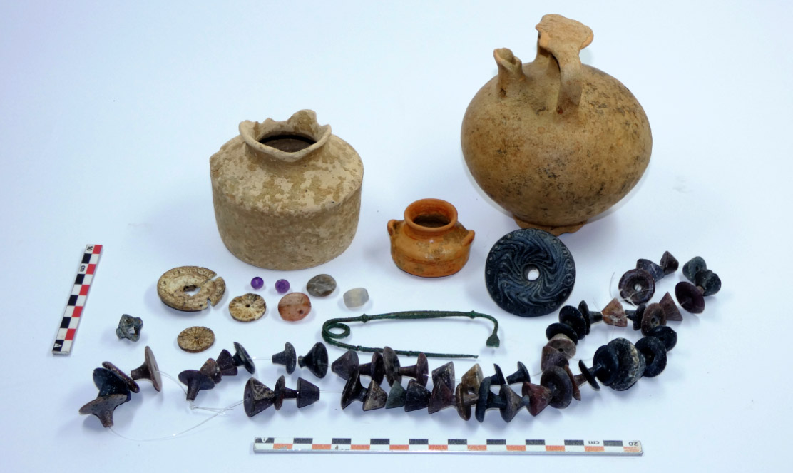 Finds from the Mycenaean chamber tomb. Credit: Ministry of Culture and Sports/Ephorate of Antiquities of Euboea.
