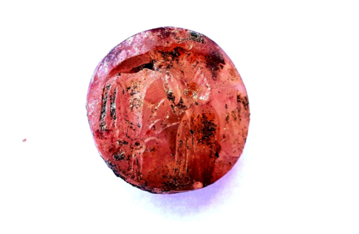Carnelian seal from the Mycenaean chamber tomb. Credit: Ministry of Culture and Sports/Ephorate of Antiquities of Euboea.