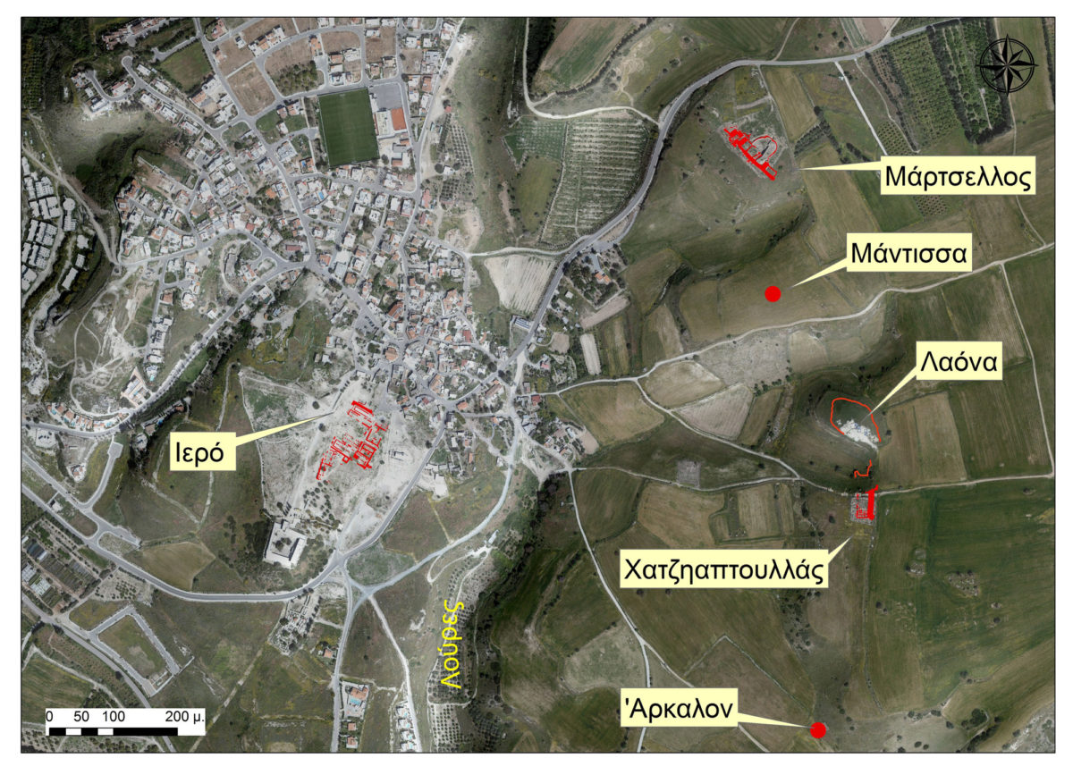 Fig. 1. The 2018 excavations took place between May and July and concentrated on the plateau (citadel) of Hadjiabdoulla, one kilometer east of the sanctuary of Aphrodite.