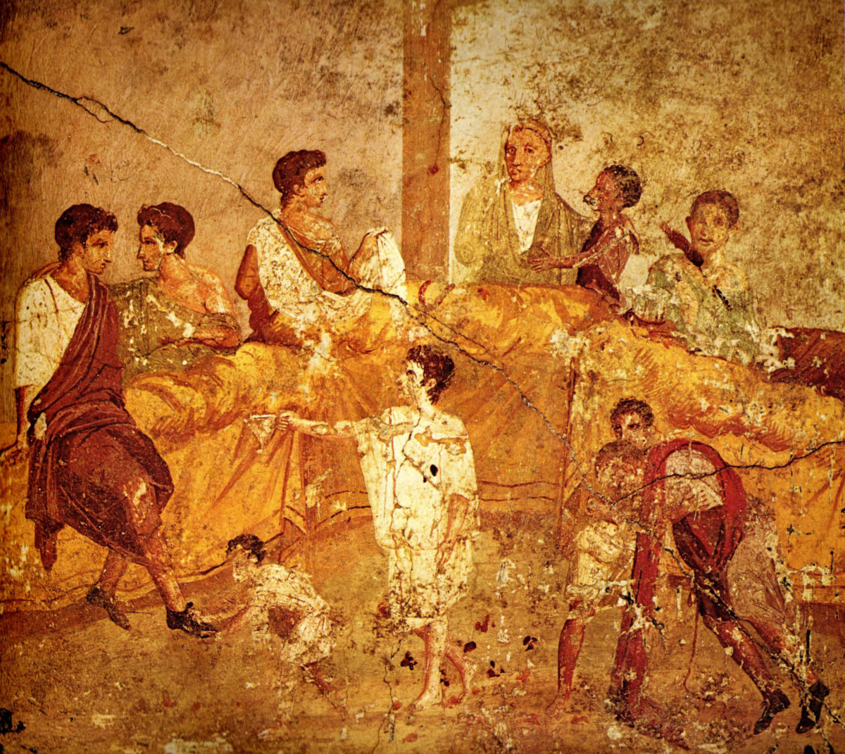 Wall painting (1st century AD) from Pompeii depicting a multigenerational banquet.