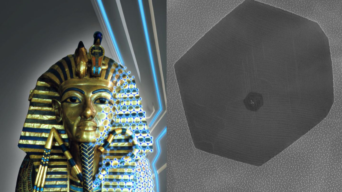 An artist rendering of graphene gilding on Tutankhamun's middle coffin and a microscope image of a graphene crystal on the palladium leaf.