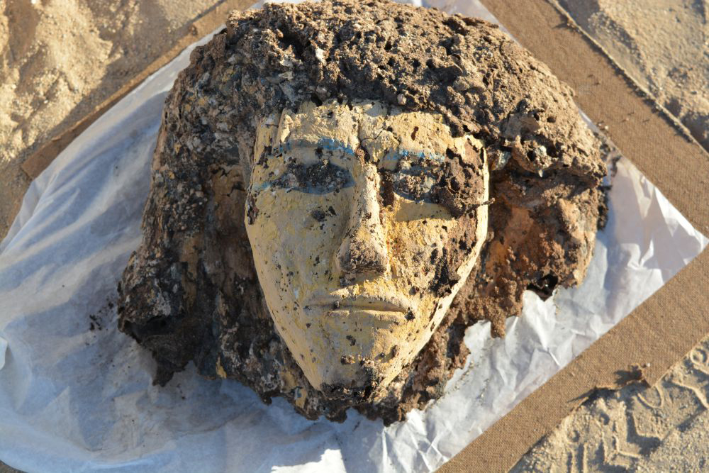 A head from a woman's coffin dating to the 18th Dynasty, roughly 1400 BC.  It came from tomb near Tombos. Credit: Stuart Tyson Smith/UCSB.