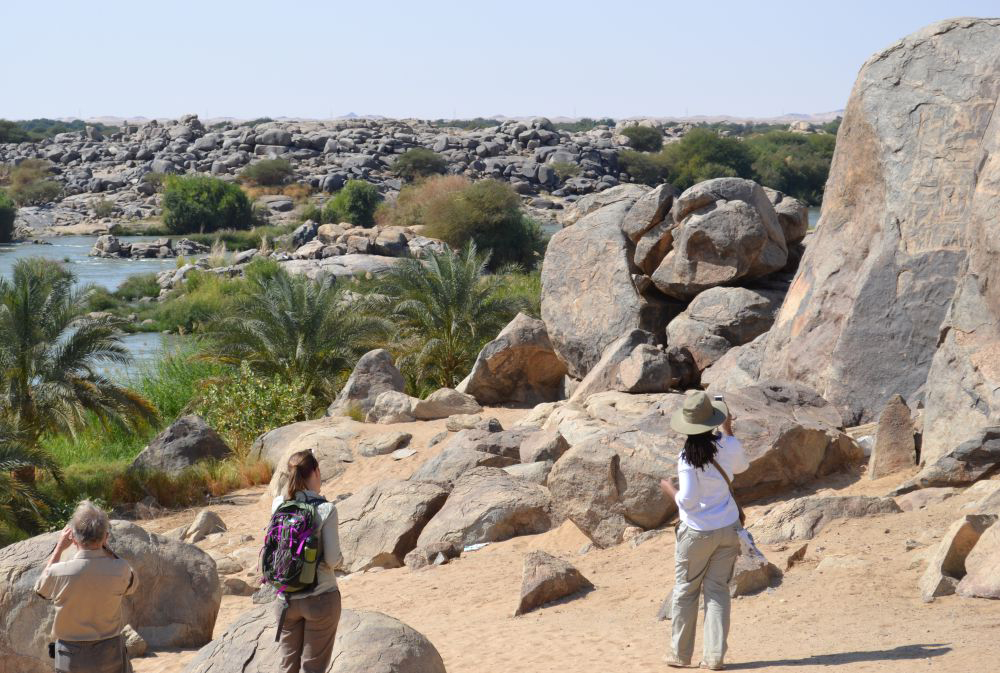 Inscriptions carved into granite outcroppings at the Third Cataract of the Nile. They're about 100 yards north  of the Tombos fortress and commemorate Thutmose I's conquest of the Kingdom of Kush in 1502 BC. Credit: Stuart Tyson Smith/UCSB.