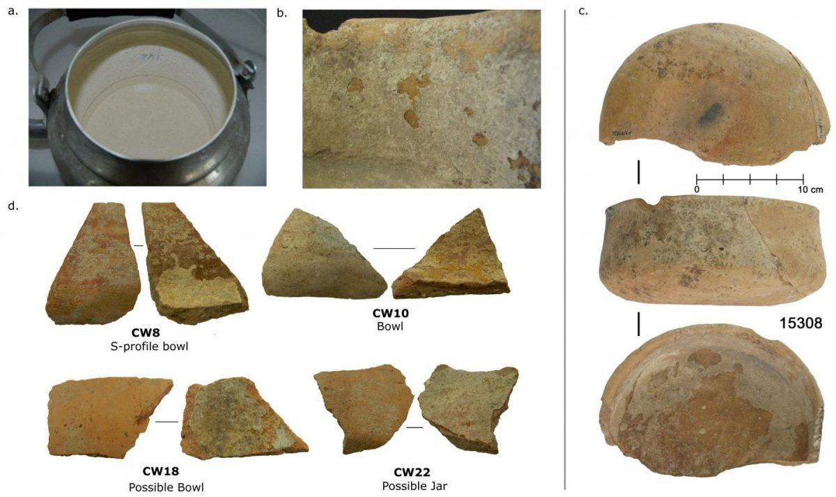 These are examples of calcified deposits from modern and ancient vessels at Çatalhöyük. a) Example of extensive limescale build-up on a modern tea water pot used near Çatalhöyük. b) A close-up of limescale deposits on an ancient sample. c) A relatively intact vessel (not analyzed in this study) demonstrating bowl shape. d) A selection of 4 sherds analyzed in this study showing calcifications adhering to the inside surface of ceramic sherds. Credit : Ingmar Franz; Hendy et al. 2018.