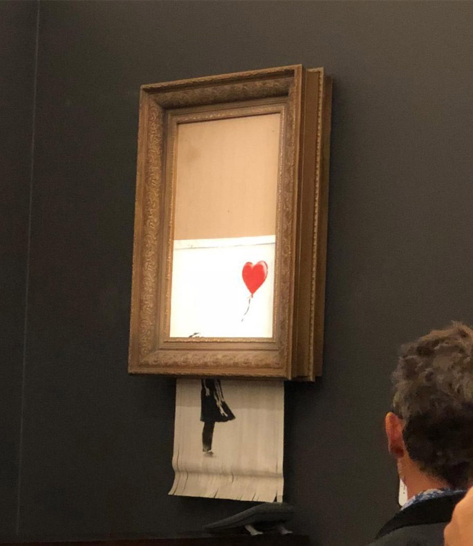 """""""Girl with Balloon"""" was shredded while being auctioned (photo.: Casterline Goodman Gallery)."""