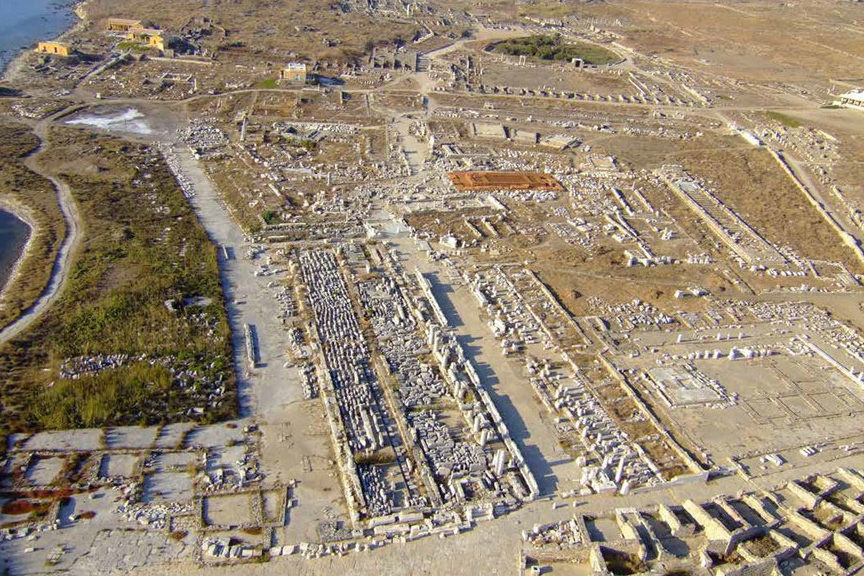 Aerial photograph of the sanctuary area. The temple of Apollo is marked in orange (photo: AMNA)