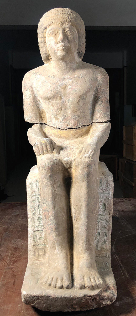 Complete granite statue of Kaires (c) Czech Institute of Egyptology, Faculty of Arts, Charles University.