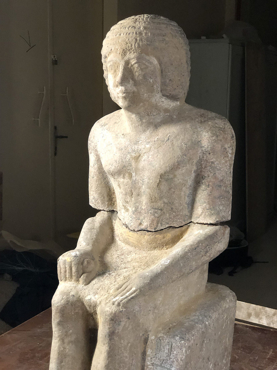 Complete granite statue of Kaires detail (c) Czech Institute of Egyptology, Faculty of Arts, Charles University.