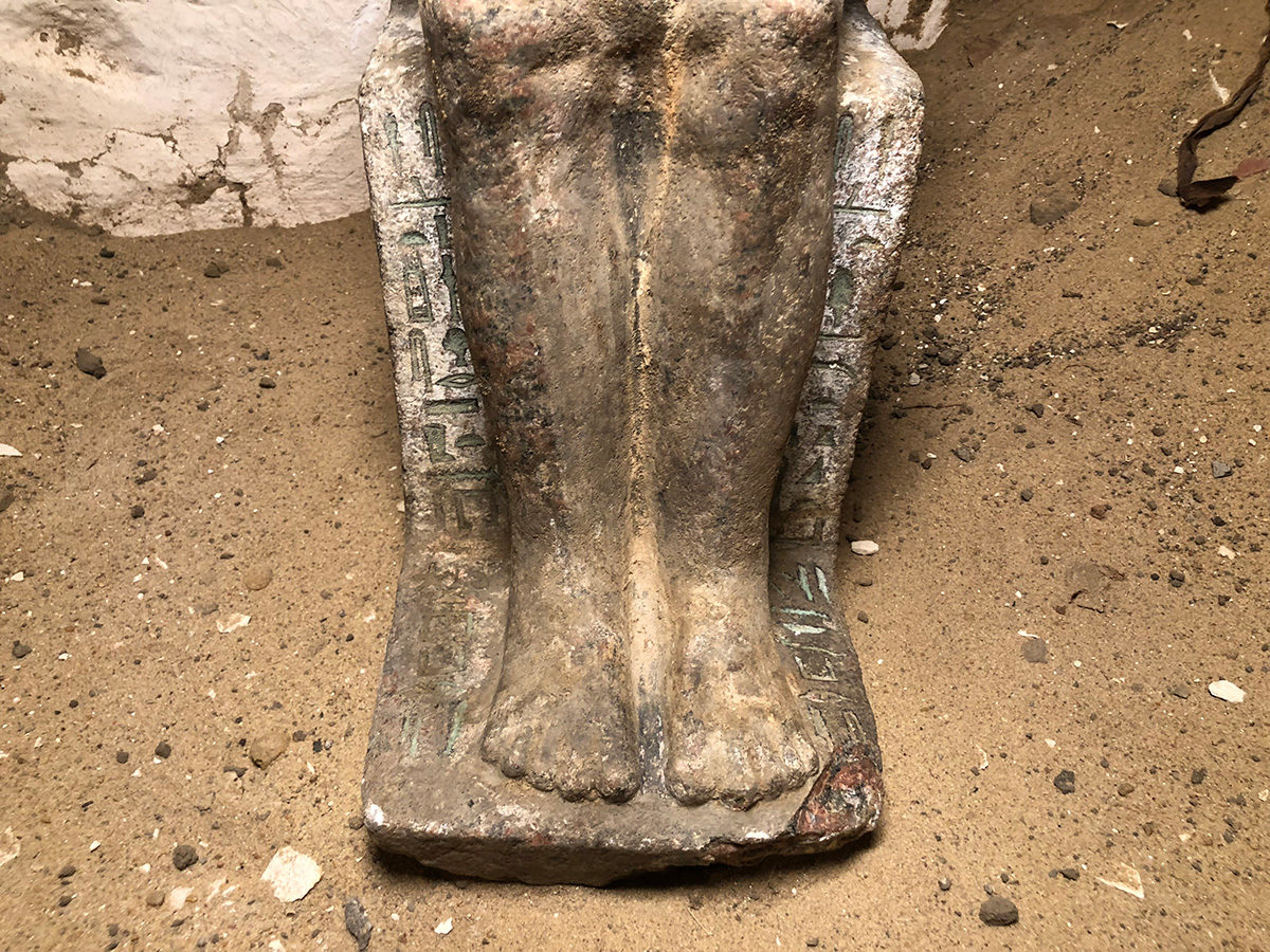 Lower part of statue detail (c) Czech Institute of Egyptology, Faculty of Arts, Charles University.
