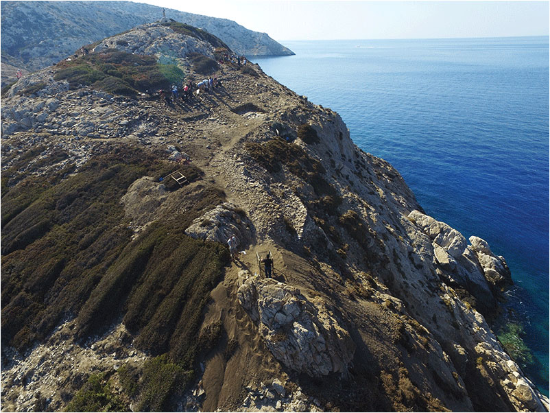Aerial photograph of Dhaskalio (Source: Ministry of Culture/ British School at Athens).