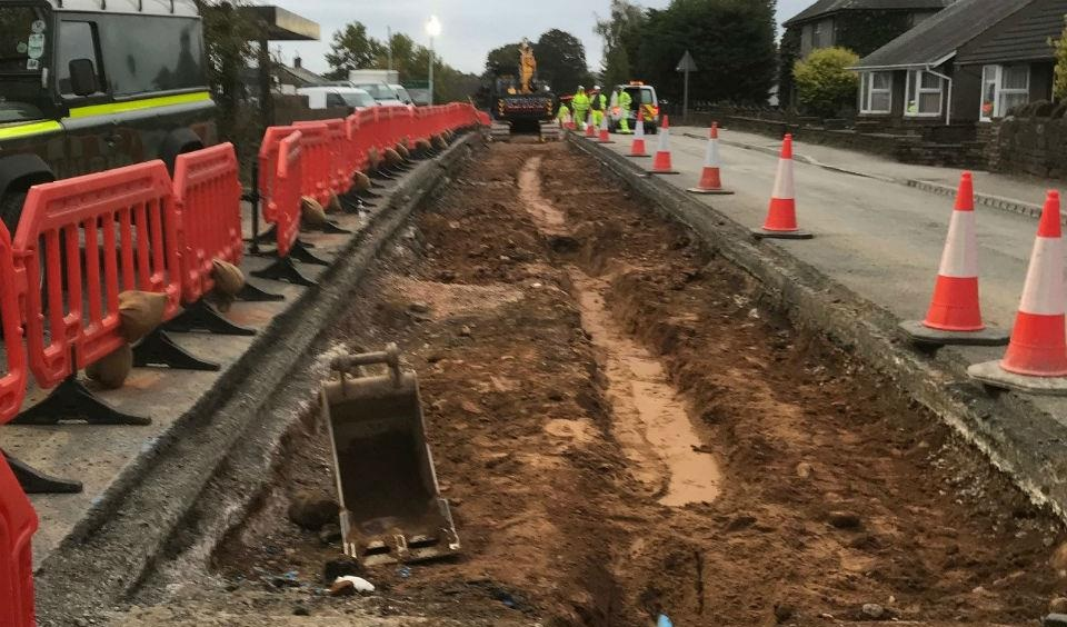 A Roman grave was discovered as road workers laid a new water pipe near houses west of Main Street at Kirkby Thore. Credit: GUARD