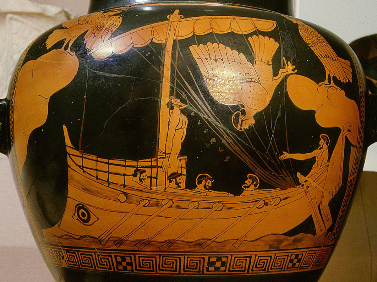 The 'Siren Vase' in the British Museum: the shipwreck is believed to be a vessel similar to that shown bearing Odysseus. Credit: Werner Forman/UIG via Getty Images