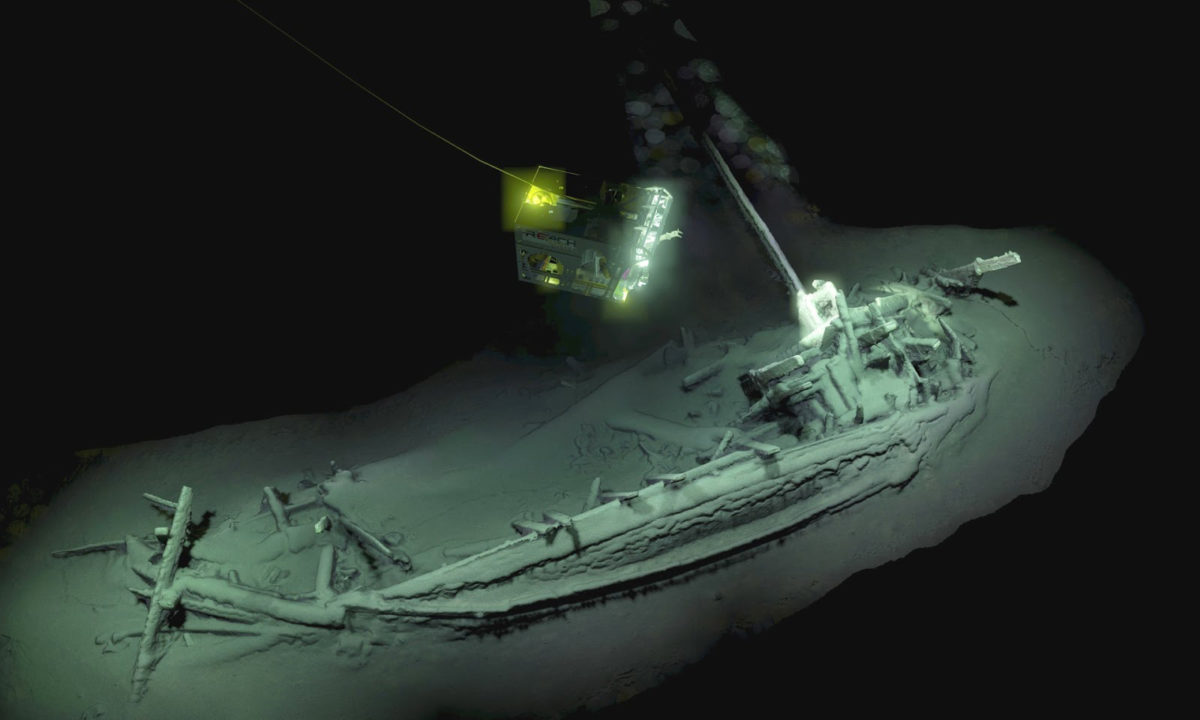 The ship was surveyed and digitally mapped by two remote underwater vehicles. Credit: Black Sea Map/EEF Expeditions