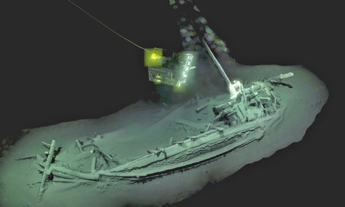 The ship was found with its mast, rudder and oarsmen's benches in place, over 1,600m under the surface of the sea. Photo: Black Sea Map/EEF Expeditions