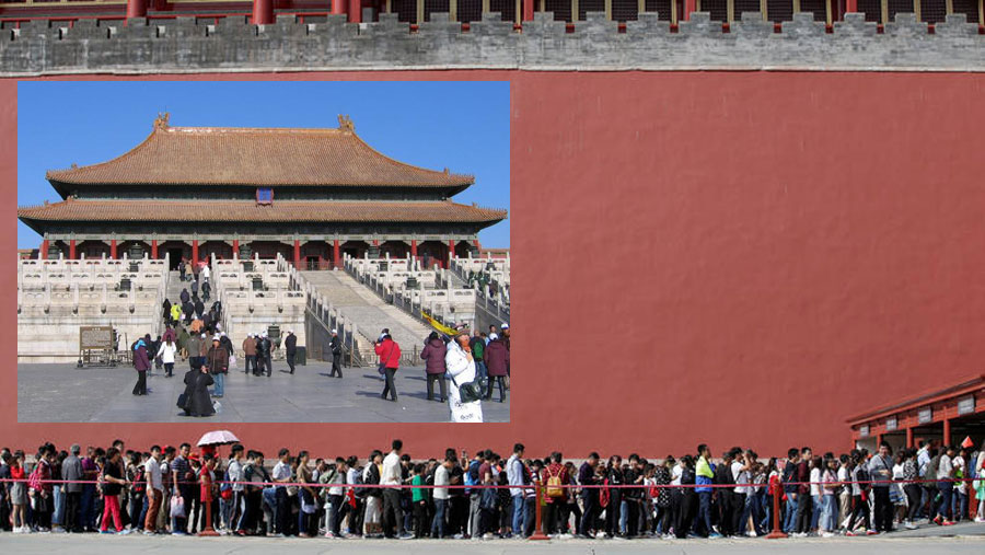 Built in 1400, the Forbidden City's wall is the largest and most well preserved palace wall in China with a length of 3.437.6 metres. It is 9.3 m. high and its width starts at 8.55 m. at its base and narrows to 6.63 m. at its top.