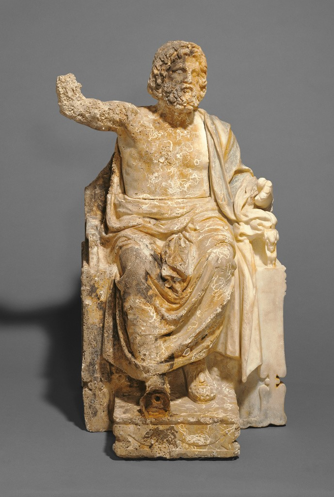 Statue of Zeus Enthroned, artist unknown, Greek, about 100 B.C. Marble, 74 × 46 × 45.6 cm (29 1/8 × 18 1/8 × 17 15/16 in.)