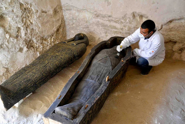 Two sarcophagi from the Late period have been found in the tomb.