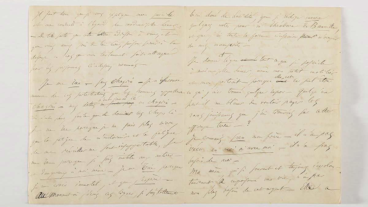 The letter by Baudelaire in which he announces his intention to commit suicide.
