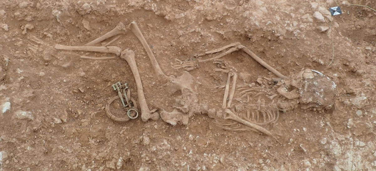 This is a female burial unearthed at Anglo-Saxon cemetery in Lincolnshire. Credit: University of Sheffield