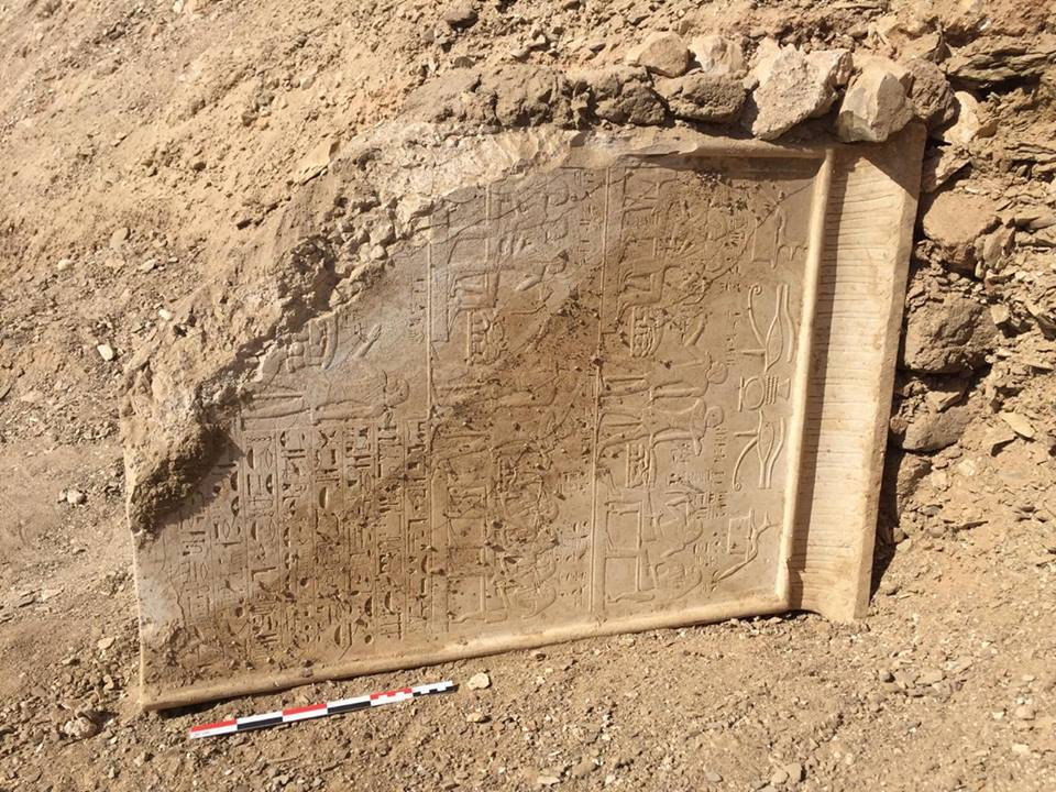 Ancient Egyptian stela found in N. Asasif, Luxor.