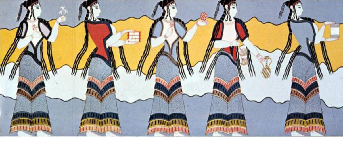 Representation of women procession from the Kadmeion of Thebes.