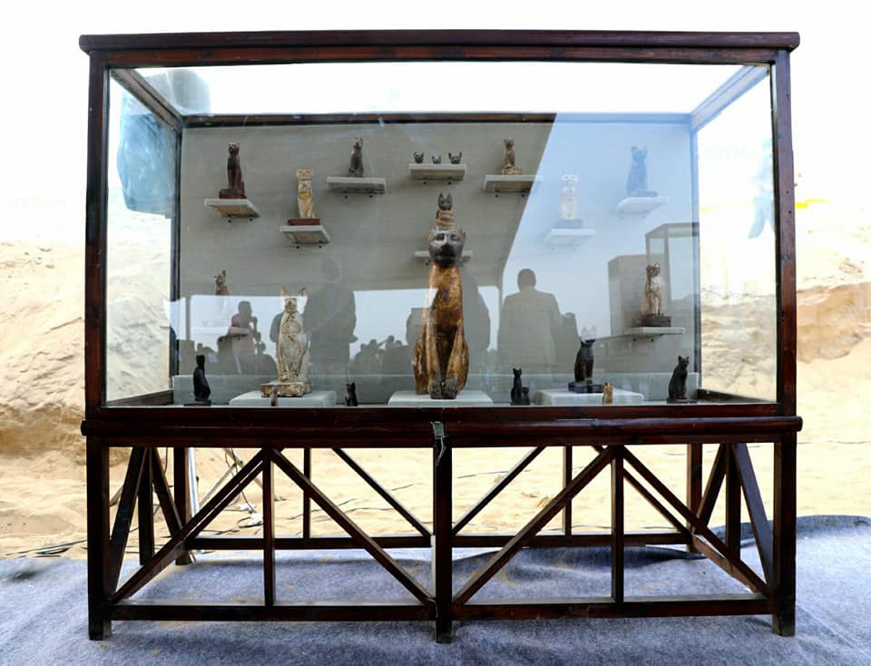 Tens of cat mummies were also unearthed along with 100 woodengilded statues of cats and a bronze one dedicated to the catgoddess bastet.