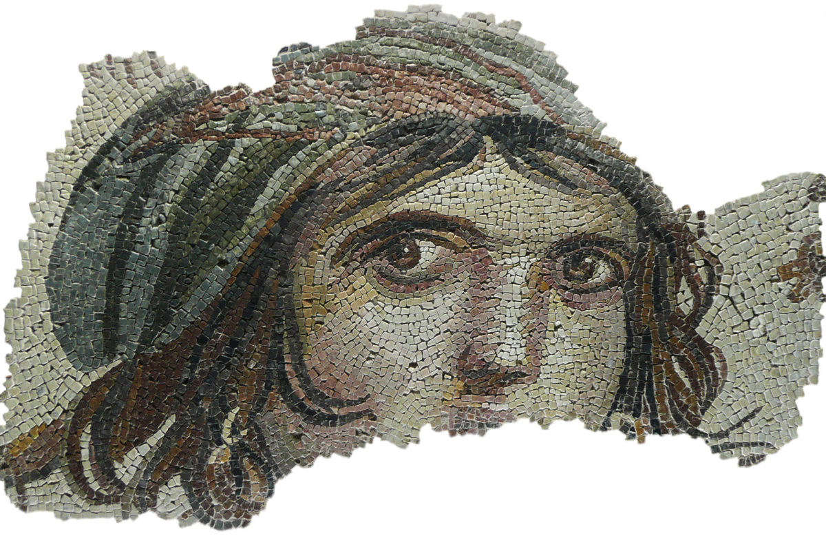 """""""The Gypsy Girl"""", mosaic from the ancient city of Zeugma (photo: Wikipedia)."""
