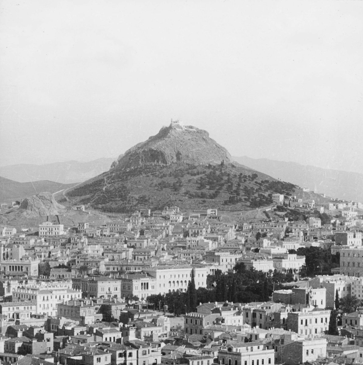View of Athens from the Acropolis with Mount Lycabettus.