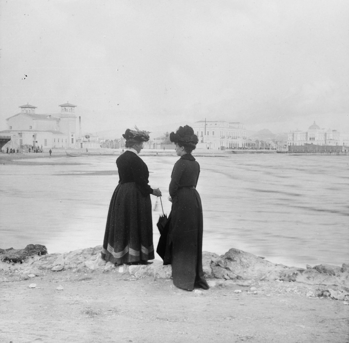 At Neo Faliro. In the background can be seen, from left to right, the new theatre, built in 1896, the metro station hotel with the third floor extension, the newly built 'Aktaion Hotel' and the pier with the changing cabanas.