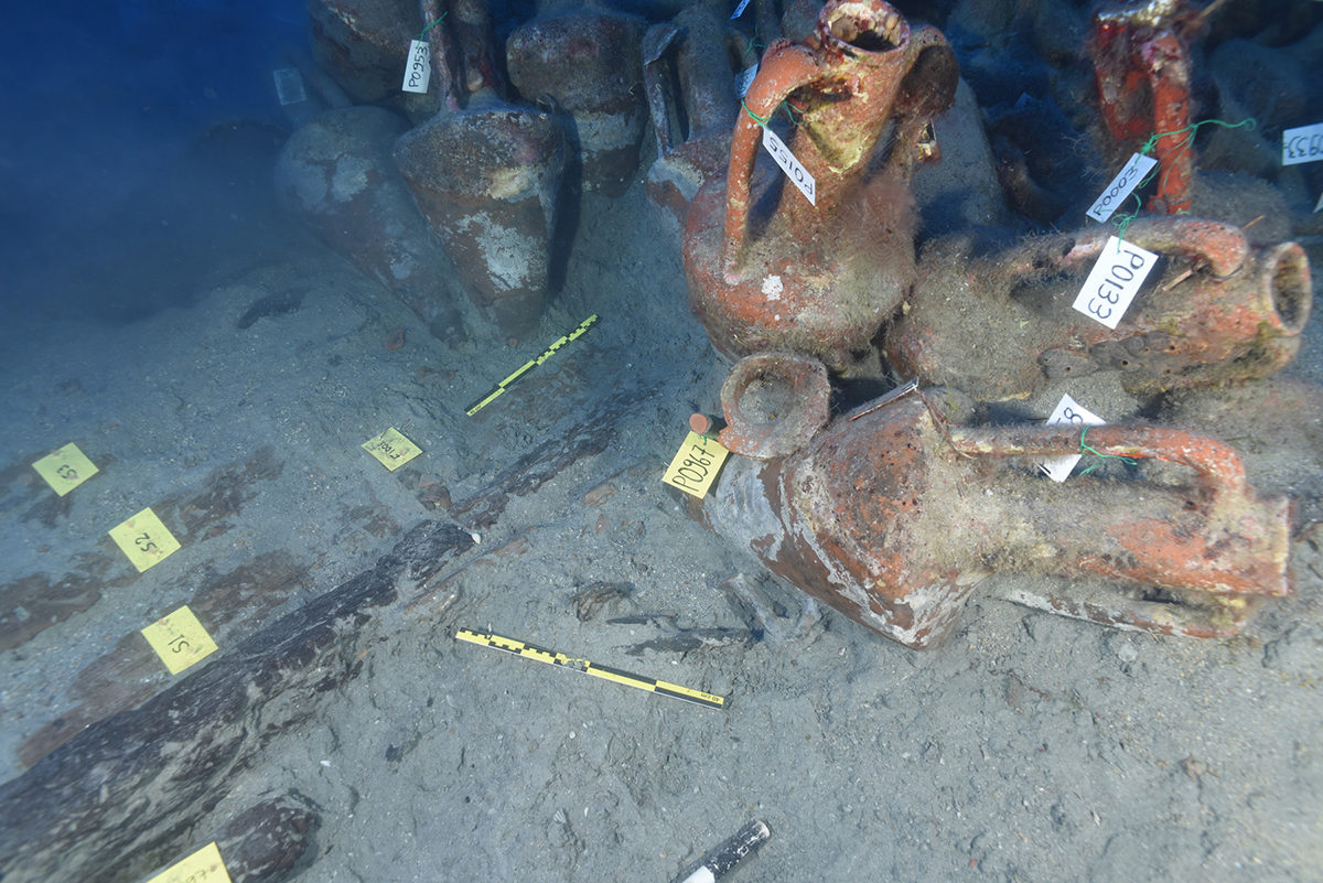 A total of seventy (70) partly or fully preserved Chian amphorae were recovered, which raised the number of amphorae stowed under the foredeck of the ship's hold to ninety nine (99).