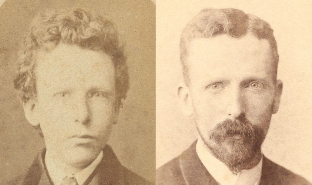 Left: Before identified as Vincent van Gogh, aged thirteen. After research identified as Theo van Gogh, aged 15. Photograph: B. Schwarz, Brussels, Van Gogh Museum, Amsterdam (Vincent van Gogh Foundation). Right: Theo van Gogh, aged thirty-two. Photograph: Woodbury & Page, Amsterdam, Van Gogh Museum, Amsterdam (Vincent van Gogh Foundation).