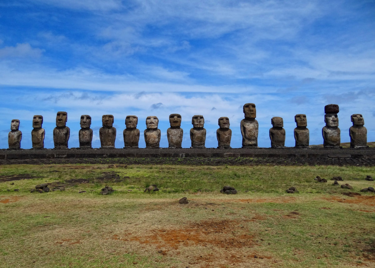 All fifteen standing moai at Ahu Tongariki.