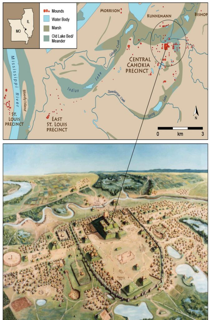 Early illustration of Downtown Cahokia (bottom), to scale, and a map of this location (top) in the context of Greater Cahokia. Image Credit: Illinois State Archaeological Survey